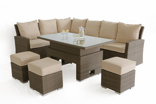 Rattan Tuscany Kingston Corner Sofa Dining Set with Rising Table