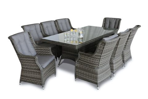 Victoria 8 Seat Rectangular Dining Set with Square Chairs
