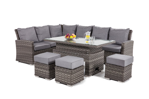 Rattan Victoria Corner Dining Set with Rising table