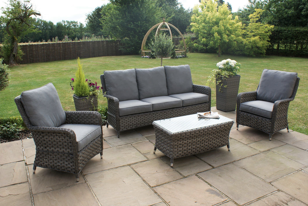 Rattan  Victoria High Back 3 Seat Sofa Set