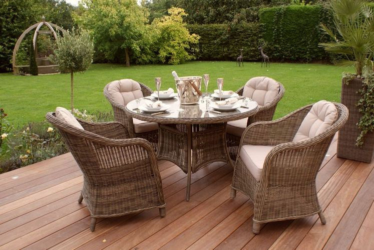 Rattan Winchester 4 Seat Round Dining Set Garden Furniture Heritage chairs