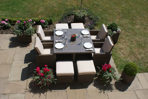 Rattan Winchester 5 Piece Cube Set with Footstools