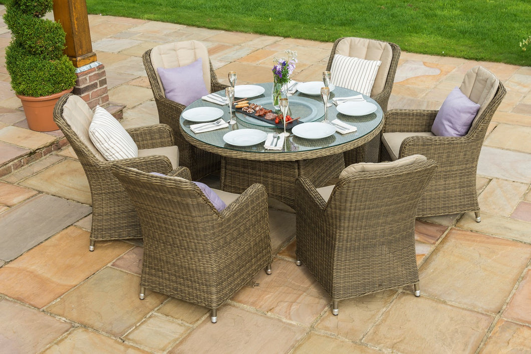 Rattan Winchester 6 Seat Oval Dining Set with Venice Chairs and Lazy Susan