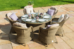 Winchester 6 seat Round Dining Set with Heritage Chairs with ice bucket and Lazy Susan