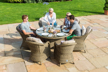 Rattan Winchester 6 seat Round Dining Set with Rounded Chairs with ice bucket and Lazy Susan