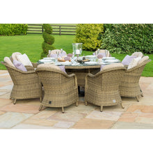 Rattan Winchester 8 Seat Round Dining Set with Heritage Chairs