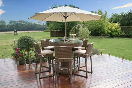 Rattan Winchester Deluxe  6 Seat Round Bar Set With Ice Bucket