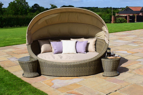 Rattan Winchester Daybed with Side Tables Lounger Sun Bed Garden Furniture