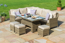 Rattan Winchester Corner Dining Set with Ice Bucket and Rising Table