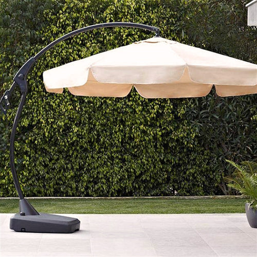Rattan Banana Cantilever Parasol inc Base and wheels for Mobility - Cream Parasol