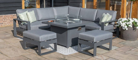 Amalfi Small Corner Dining Set - With Firepit Table & Footstools - Casual Dining - Maze Rattan - Garden Furniture UK