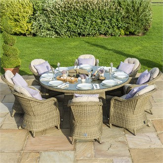 Rattan Winchester 8 Seat Round Ice Bucket Dining Set With Heritage Chairs and Lazy Susan