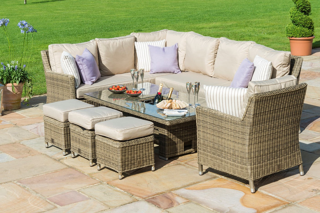 Rattan Winchester Corner Dining Set with Armchair Ice Bucket and Rising Table