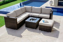 Rattan London Rattan Wicker Corner Sofa Set with Ice Bucket - Grey  Weave
