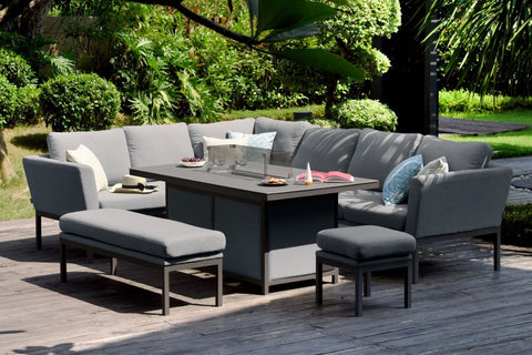Pulse Rectangular Corner Dining Set with Fire Pit