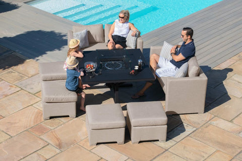 Fuzion Sofa Cube Set with Fire Pit - Taupe