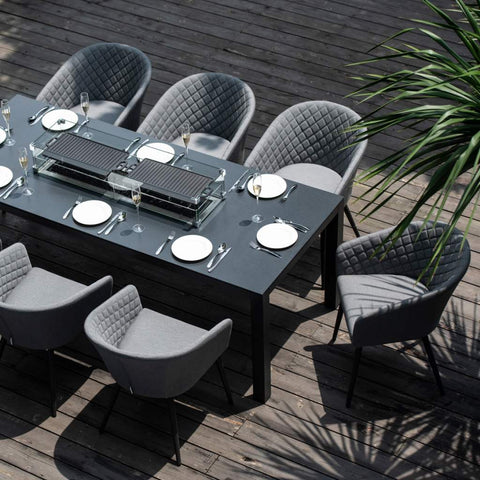 Ambition 8 Seat Rectangular Firepit Dining Set