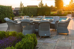 Oxford 8 Seat Fire Pit Dining Set with Heritage Chairs