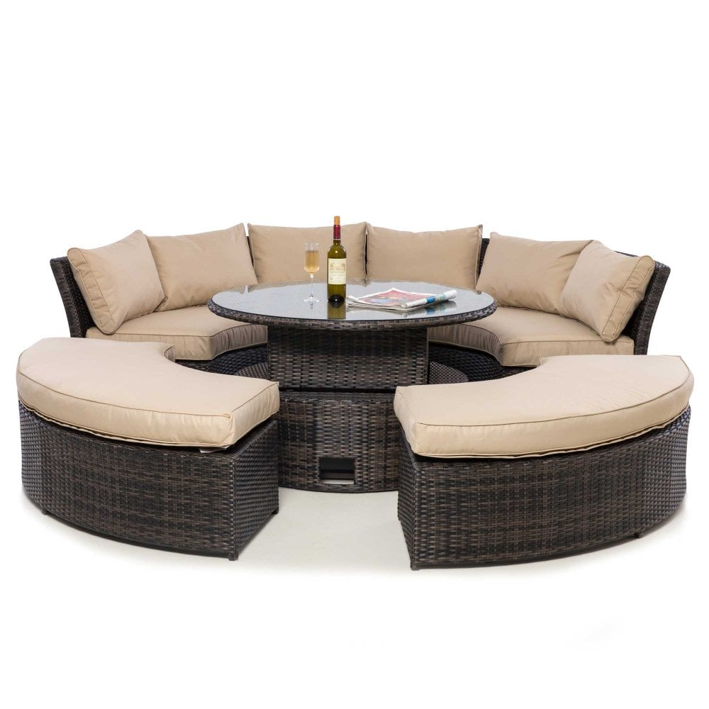 Rattan Chelsea Lifestyle Suite with Glass Table Top - Mixed Brown