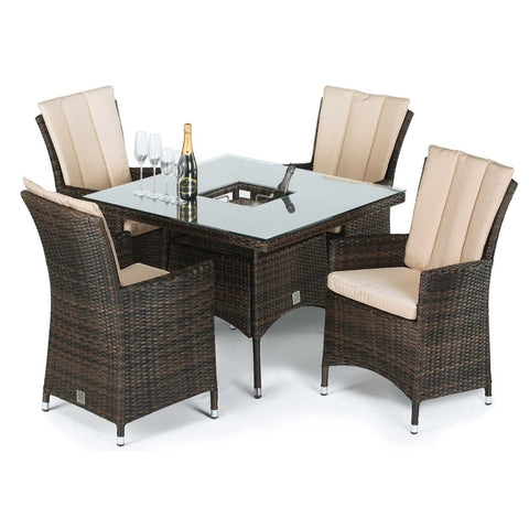 LA 4 Seat Square with Ice Bucket Dining Set
