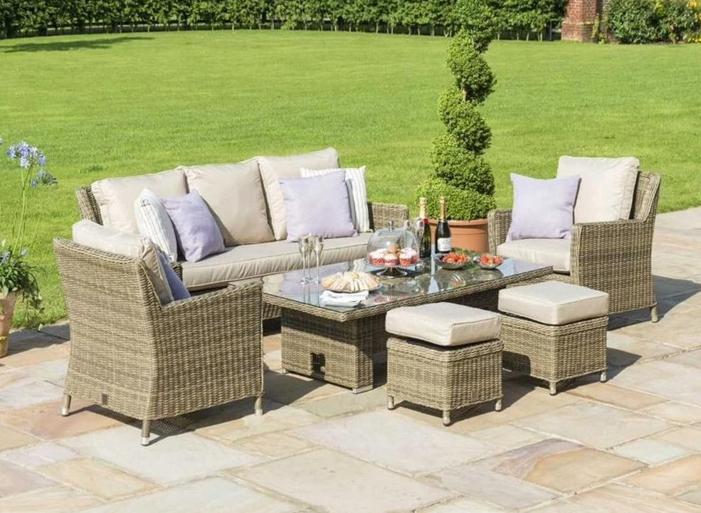 Rattan Winchester Sofa Dining Set with Ice bucket and Rising Table