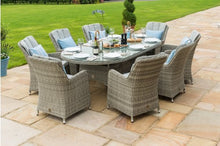 Rattan Oxford 8 Seat Oval Ice Bucket Dining Set with Venice Chairs and Lazy Susan