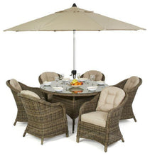 Rattan Winchester 6 Seat Round Dining Set with Heritage Chairs