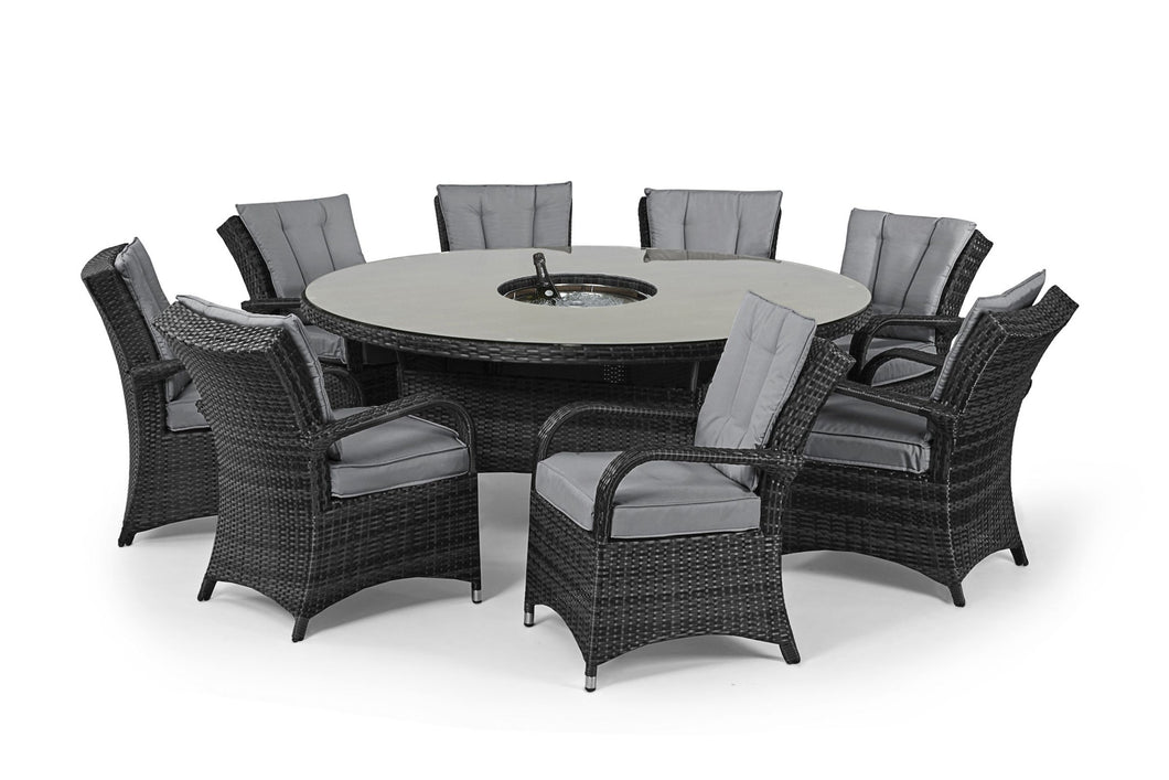 Rattan Texas 8 Seat Round Ice Bucket Dining Set with Lazy Susan - Mixed Grey