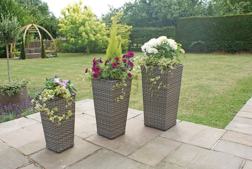 Rattan Victoria Shaped Planters Garden Furniture