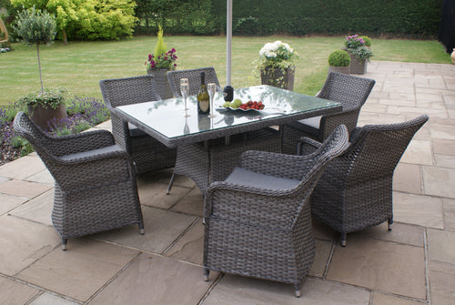 Rattan Victoria 6 Seat Rectangular Dining Set with Square Chairs Garden Furniture