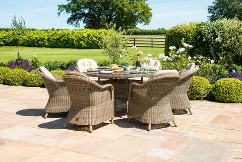 Winchester 6 Seat Round Fire Pit Dining Set with Heritage Chairs and Lazy Susan.