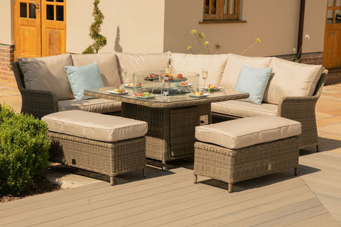 Winchester Royal Corner Dining Set with Fire Pit Table
