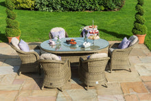 Rattan Winchester 6 Seat Oval Ice Bucket Dining Set with Heritage Chairs and Lazy Susan