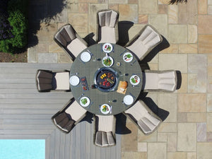 Winchester 8 Seat Round Fire Pit Dining Set with Venice Chairs and Lazy Susan