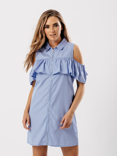 Frill cold shoulder dress