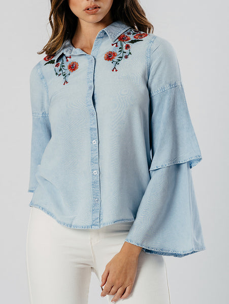 Layered sleeve embroidered shirt