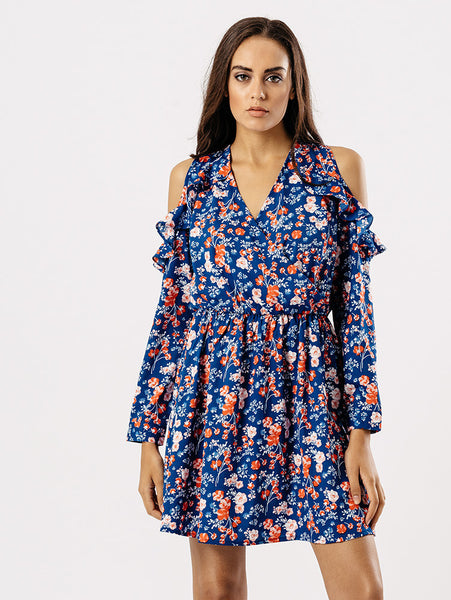 Blue ditsy cold shoulder dress
