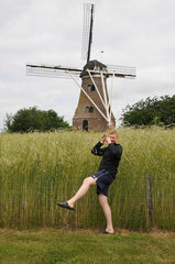 Chris inspecting windmills for Road Trip Europe: Go Dutch