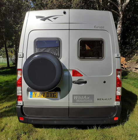 WildAx Europa Motorhome for sale LHD campervan Renault Master rear spare wheel