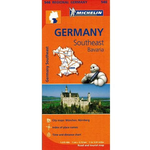 546 Germany Southeast Bavaria Michelin Regional Map