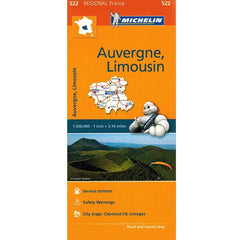 522 Auvergne, Limousin Michelin Regional Map 9782067135307 front cover