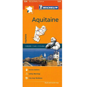 524 Aquitaine Michelin Regional Map 9782067135321 front cover