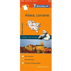 516 Alsace Lorraine Michelin Regional Map 9782067135246 front cover