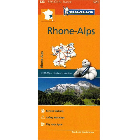 523 Rhone-Alps Michelin Regional Map 9782067135314 front cover