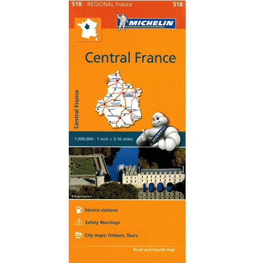 518 Central France Michelin Regional Map 9782067135260 front cover