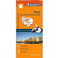 514 Paris & Surrounding Areas Michelin Regional Map 9782067135222 front cover
