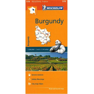 519 Burgundy Michelin Regional Map 9782067135277 front cover