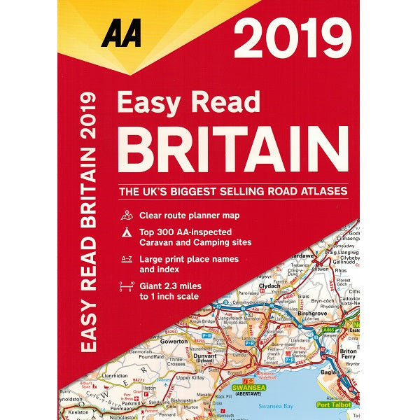 2019 AA Britain Easy Read Road Atlas Flexibound 9780749579531 front cover