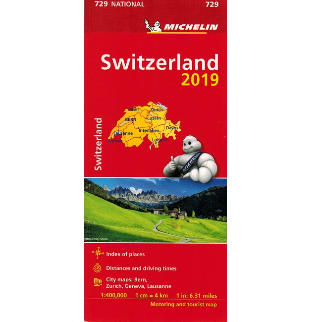 2019 Michelin Switzerland Sheet Map 729 9782067236608 front cover