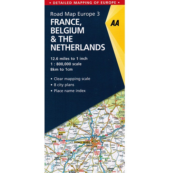 Map Of France With City Names.Aa France Benelux Sheet Map
